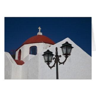 La Grèce, Mykonos, chapelle avec le dôme rouge et Carte De Vœux