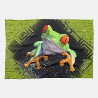 La grenouille 3 a encadré des serviettes de