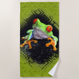 La grenouille 3 a encadré des serviettes de plage