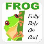 La GRENOUILLE, se fondent entièrement sur Dieu Sticker Carré