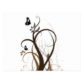 La grunge tourbillonne 2 papillons Brown Carte Postale