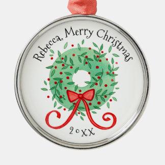 La guirlande de Joyeux Noël ajoutent le nom et Ornement Rond Argenté