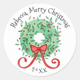 La guirlande de Joyeux Noël ajoutent le nom et Sticker Rond
