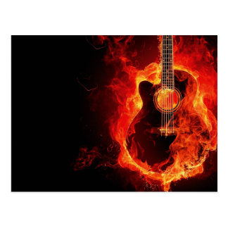 La guitare brûlante, orange flambe le groupe de carte postale