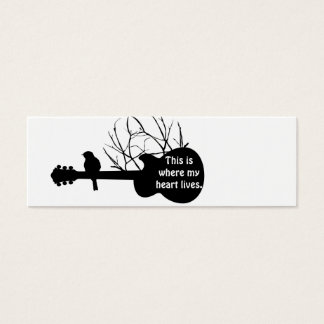 la guitare, ceci est où mon coeur vit mini carte de visite