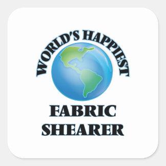 La haveuse du tissu la plus heureuse du monde sticker carré