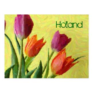 La Hollande, carte postale impressionniste vintage