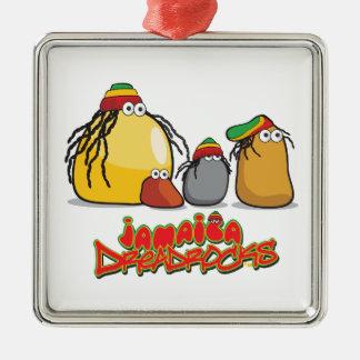 La Jamaïque DreadRocks Ornement Carré Argenté