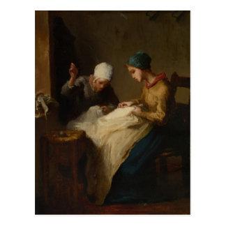 La jeune ouvrière couturière par le millet de carte postale