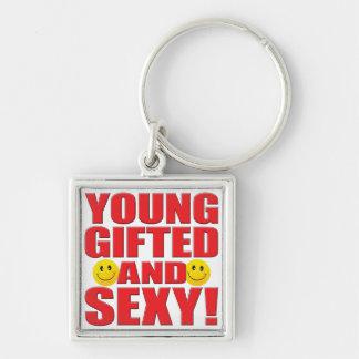 La jeune vie sexy porte-clé carré argenté