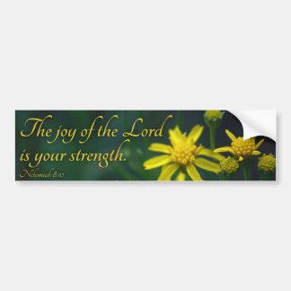 La joie du seigneur est votre fleur de jaune de autocollant de voiture
