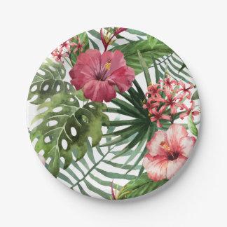 La ketmie tropicale fleurit le motif de feuillage assiettes en papier