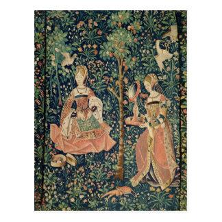 La La luttent Seigneuriale : Broderie, c.1500 Carte Postale