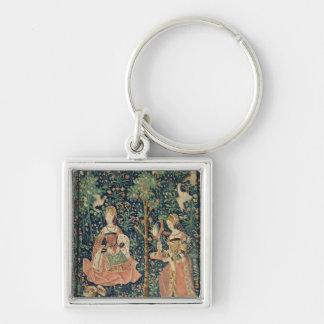 La La luttent Seigneuriale : Broderie, c.1500 Porte-clé Carré Argenté
