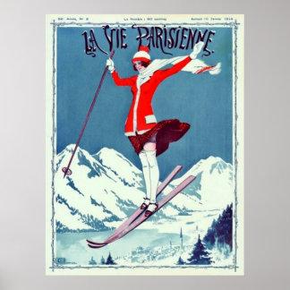 La La vintage luttent le ski de Parisienne Poster