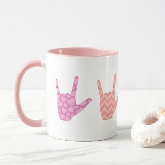 La langue des signes d'ASL colore je t'aime la Mugs
