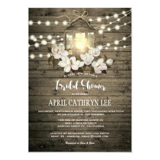 La lanterne florale en bois rustique allume la carton d'invitation  12,7 cm x 17,78 cm