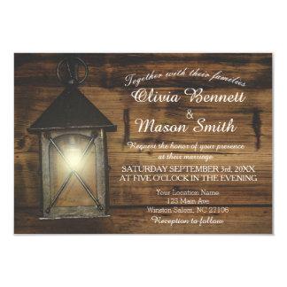 La lanterne rustique élégante allume la carte de carton d'invitation 8,89 cm x 12,70 cm