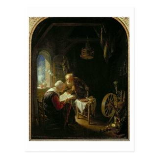 La leçon de bible, ou Anne et Tobias (huile sur le Carte Postale
