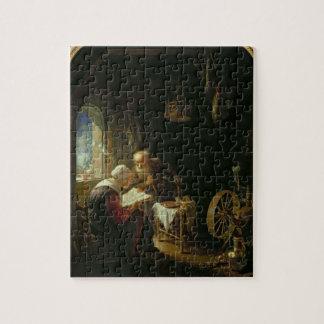 La leçon de bible, ou Anne et Tobias (huile sur le Puzzle