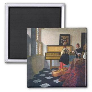 La leçon de musique de Johannes Vermeer Magnet Carré