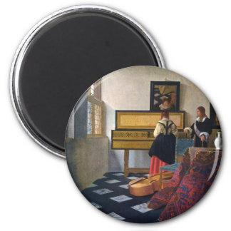 La leçon de musique de Johannes Vermeer Magnet Rond 8 Cm