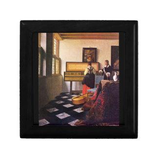 La leçon de musique par Johannes Vermeer Petite Boîte À Bijoux Carrée