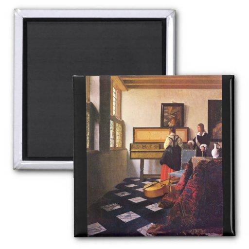 La leçon de musique par Johannes Vermeer Aimants Pour Réfrigérateur