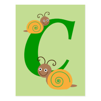 La lettre C Brian de monogramme l'escargot badine Cartes Postales