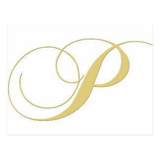 La lettre P de monogramme d'or choisissent Carte Postale