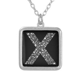 La lettre X d'alphabet Pendentif Carré