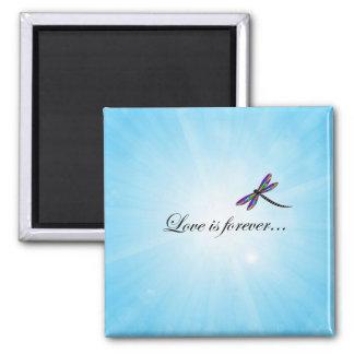 """La libellule """"AMOUR est Forever """" Aimant"""