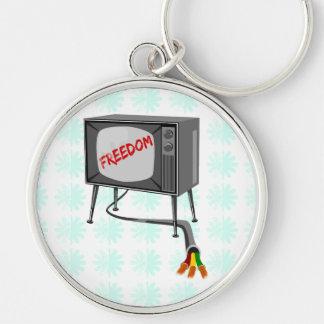 La liberté de télévision a coupé la corde porte-clé rond argenté