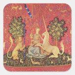 La licorne et la première image médiévale de stickers carrés