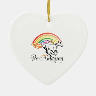 La licorne soit extraordinaire ornement cœur en céramique