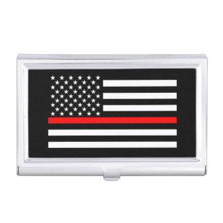 La ligne rouge mince décor de drapeau américain porte-cartes de visite
