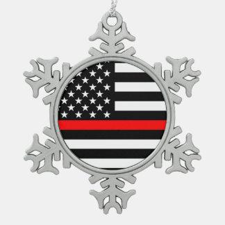 La ligne rouge mince symbolique drapeau américain ornement flocon de neige pewter