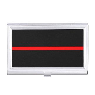 La ligne rouge mince symbolique noir horizontal boîtier pour cartes de visite