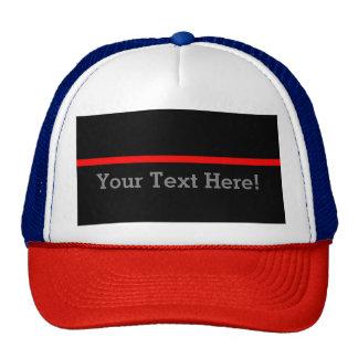 La ligne rouge mince symbolique personnalisent casquettes de camionneur