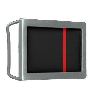 La ligne rouge mince symbolique sur un décor noir boucle de ceinture rectangulaire