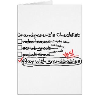 La liste de contrôle des grands-parents carte de vœux