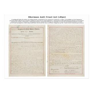 La Loi anti-trust de Sherman le 2 juillet 1890 Carte Postale