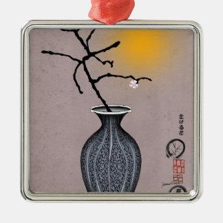 la lune élégante des fernandes et 1 fleur de prune ornement carré argenté