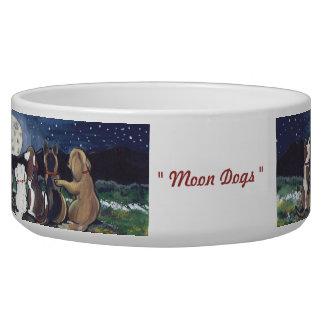 """La """"lune poursuit"""" le plat d'aliments pour chiens  écuelles pour chien"""