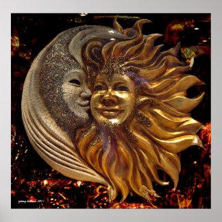La lune, The Sun, l'affiche de baiser Affiches