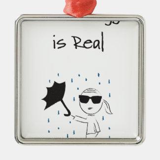 La lutte d'échouer de parapluie est vraie ornement carré argenté