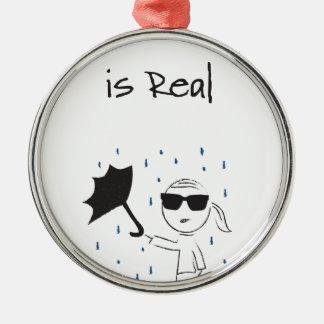La lutte d'échouer de parapluie est vraie ornement rond argenté