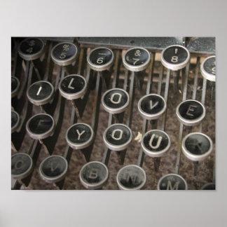 """La machine à écrire verrouille """"je t'aime """" posters"""