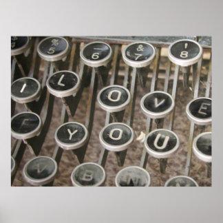 """La machine à écrire vintage verrouille """"je t'aime posters"""