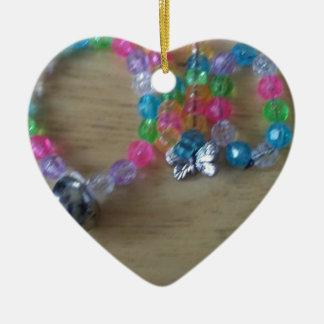 la maison a fait des braclets perlés ornement cœur en céramique